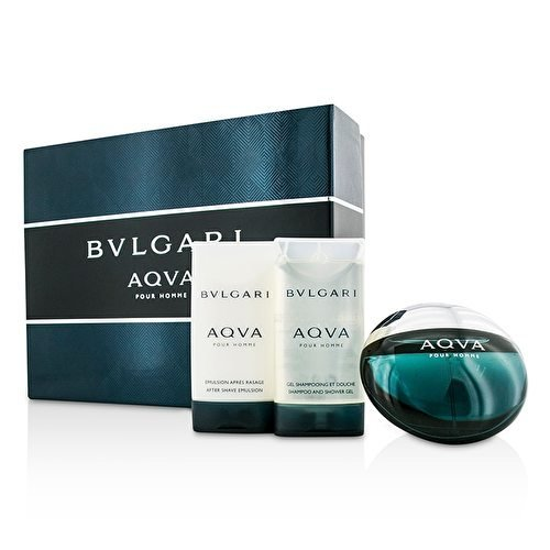 Aqva edt 50 ml + Balsamo dopobarba 75 ml + Bagnoschiuma 75 ml di Bulgari, Uomo - Cofanetto