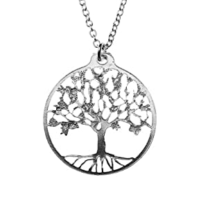 Small Tree of Life Silver Dipped Pendant Necklace on 18