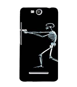 PrintVisa Shooting Skeleton Design 3D Hard Polycarbonate Designer Back Case Cover for Micromax Canvas Juice3 Q392