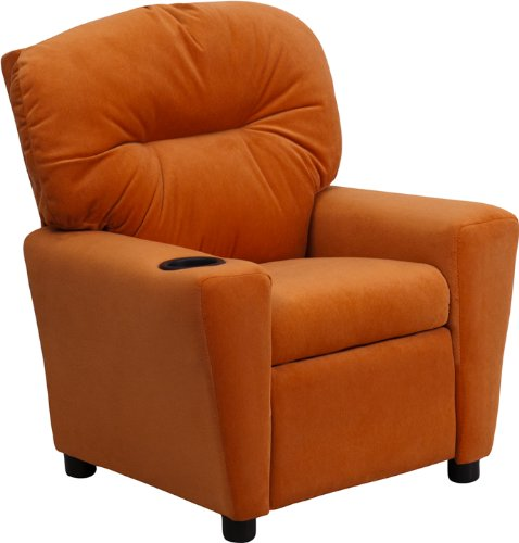 Offex OF-BT-7950-KID-MIC-ORG-GG Contemporary Microfiber Kids Recliner with Cup Holder, Orange