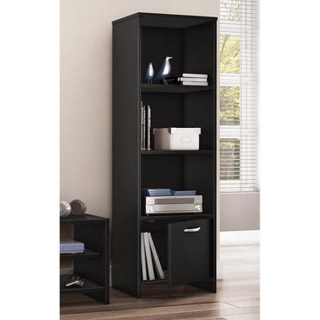 South Shore SoHo 3-Shelf Bookcase/Media Storage, Black Short 2 Door Cabinet
