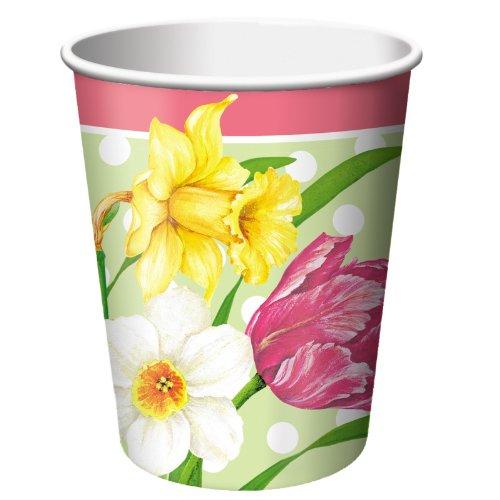Creative Converting 192428 Polka Dot Garden 9 oz. Paper Cups