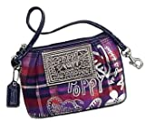 Coach Poppy Signature Tartan Plaid Wristlet Bag Case for Ipod Berry Mutli Reviewed