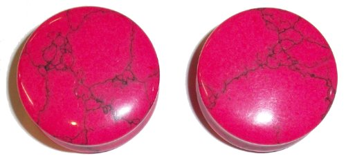 Pink Howlite Turquoise Stone Plugs 7/18
