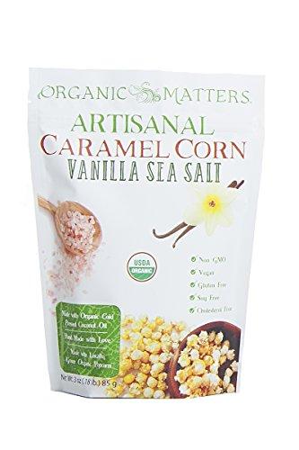 Organic Matters Vegan Caramel Corn - A healthier dairy free caramel corn made with Cold Pressed Coconut Oil - USDA Organic   Non-GMO   Soy Free (Vanilla Sea Salt) - 3 pack (Vegi Salt compare prices)