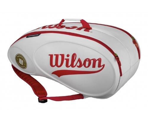 Wilson Schlägertasche 100 Year Tour Molded Racketbag 9er, Weiß, 77 x 35 x 35 cm, 70 Liter, WRZ842409
