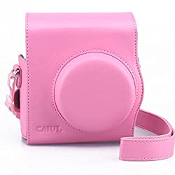 [Fujifilm Instax Mini 8 Case] - CAIUL 2nd Generation [Update Version] Comprehensive Protection Instax Mini 8 Case With Soft PU Leather [ Film Count Show and Easy to Reload Film Design ] (Pink)
