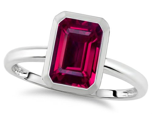 Tommaso Design 8X6Mm Emerald Octagon Cut Created Ruby Engagement Solitaire Ring 10K Size 7