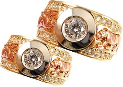 14k Yellow and Rose Gold, Panther Design Duo Matching Bands Ring Set