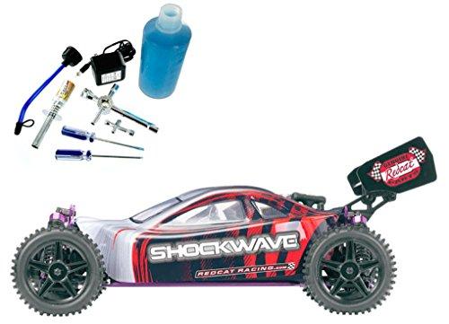 Redcat Racing Gold Bundle – Shockwave Nitro Buggy, Red, 1/10 Scale – PLUS – Redcat Racing 80142A Nitro R/C Starter Kit