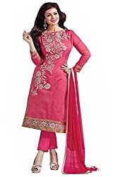 Z Hot Fashion Women's Chanderi Cotton Un-stitched Salwar Suit Material (RHACP1001_Pink_Free Size)