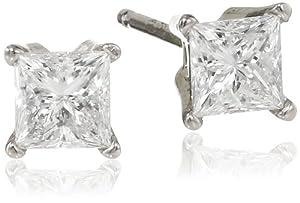 IGI Certified 18k White Gold Princess-Cut Diamond Stud Earrings (5/8 cttw, H-I Color, VS1-VS2)