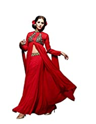 Aarti Saree Trendy Fashionable Red And Black Straight Suit With Heavy Embroidery Work