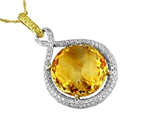 Ladies Diamond & Yellow Sapphire & Citrine Necklace in 14K Yellow Gold (TCW 14.64).