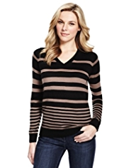 M&S Collection Cashmilon™ V-Neck Striped Jumper
