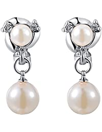 Kaizer Jewelry Peculiar Freshwater Pearl Sterling Silver Plated Dangle & Drop Earrings For Women Girls