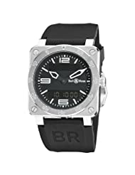 Bell & Ross Men's BR-03-TYPE-STEEL Aviation Black Digital and Analog Watch Display Watch