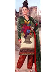 Exotic India Myrtle-Green Salwar Kameez With Crewel Embroidered B - Myrtle-Green