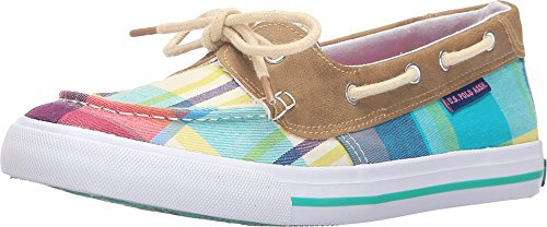 US-POLO-ASSN-Womens-Stacy-TealBluePink-Plaid-Boat-Shoe-85-M