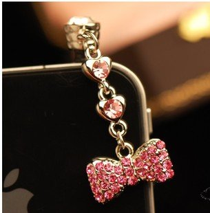 Cjb Dust Plug / Earphone Jack Accessory Long Rhinestone Heart Bow Pink For Iphone 4 4S S4 5 All Device With 3.5Mm Jack (Us Seller)