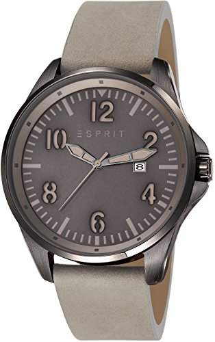 Esprit ES107601003 - Orologio da polso, uomo, pelle, colore: grigio