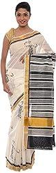 The Print Village Women's Cotton Silk Saree (White)