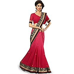 Designer Shaded Partywear fashionable Sarees with velvet touch border Saree in Pink Fuscia color by vasu saree