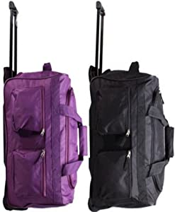 Set Of 2 Xxl Extra Large 32 Inch Wheeled Holdall Trolley Suitcase Luggage Bag 1x Black And 1x Plum