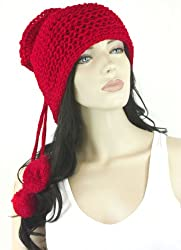 Hot Red Versatile Knitted Tube Cowl Scarf and Hat