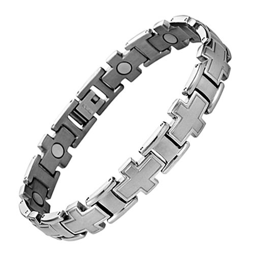 Willis Judd New Mens Titanium Cross Magnetic Bracelet in Velvet Box with Free Link Removal Tool
