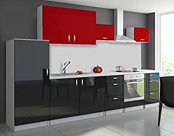 Cuisine complète 3m20 OXIN laquée noir et blanc (noir et rouge)