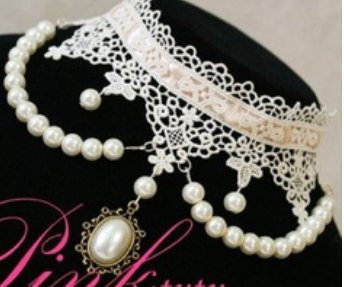 Romantic White Victorian Style White Lace Bridal Fashion Choker Vintage Necklace for Wedding