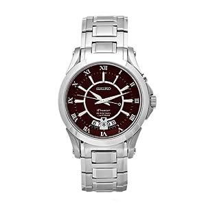 Seiko Men's SNQ117 Premier Stainless-Steel Black Roman Numeral Dial Watch