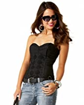 Studded Trapunto Strapless Top :  studded metallic bustier cocktail