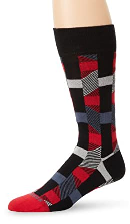 BOSS HUGO BOSS Men's Abstract Geometric Pattern Dress Mid Calf Sock, Black, One Size