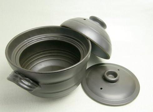 萬古焼 大黒 ごはん鍋 黒釉手造り ご飯鍋 2合炊き 日本製