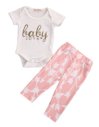 3Pcs Newborn Baby Girls Infant Outfit Set Romper T-shirt+Pants Headband Clothes (0-3M, Pink)