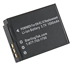 STK Nikon EN-EL12 Battery 1500mAh for Coolpix S9900, S9700, AW120, S9500, AW110, S70, S9600, S6300, S6200, S8100, S9100, S800c, S31 Digital Cameras