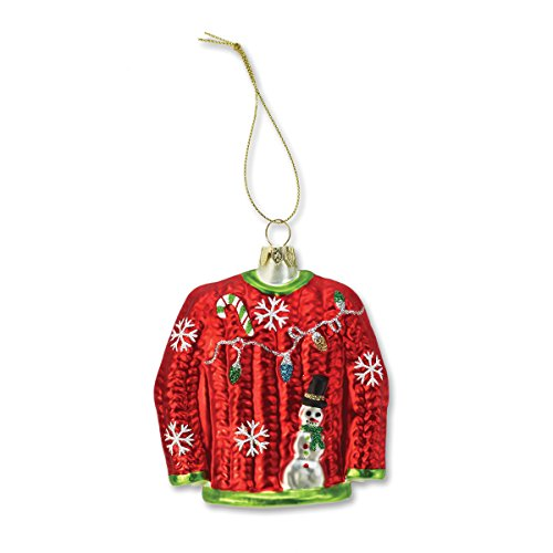 Demdaco Ugly Sweater Molded Glass Ornament