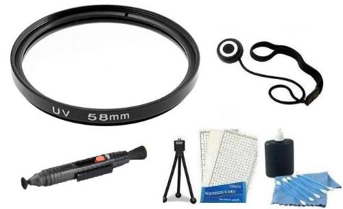Uv Filter And Accessory Kit Includes 58Mm Uv Protection Filter Kit For Canon Ef-S 18-55Mm F/3.5-5.6 Is Slr Lens + Lens Cap Keeper + Lens Cleaning Pen + Mini Tripod + Lcd Screen Protectors + Camera Cleaning Kit For Canon Eos Rebel T3I, T3, T1I, T2I, Xs, Xs