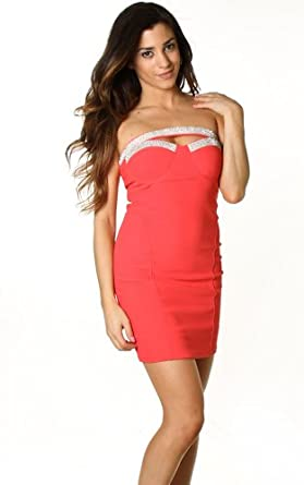 Sexy Elegant Coral Jewel Band Detail Bust Line Cut Out Tube Mini Dress-Coral-Large