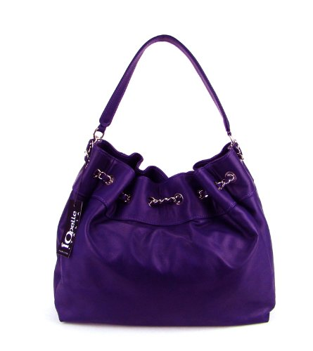 IO Pelle Italian Purple Leather Drawstring Hobo Shoulder Bag Purse