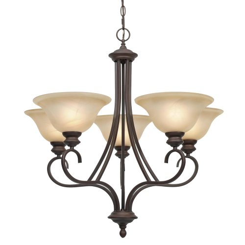 B0017YIVSG Golden Lighting 6005-5 RBZ Lancaster Five Light Chandelier, Rubbed Bronze Finish