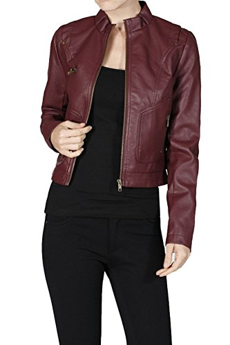 PU Faux Leather Motorcycle Jacket w/ Zippers (Small, Burgundy)