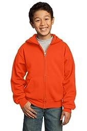 Port & Company Youth Full-Zip Hooded Sweatshirt, X-Large, Orange