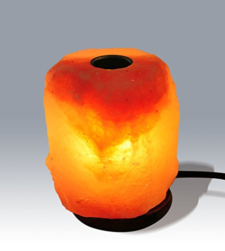 """Homankit 9"""" Length 6.5-11 lbs Himalayan Aromatherapy Crystal Salt Lamp With Wood Base,Blub and Dimmer Switch"""