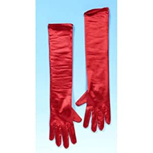 New Long Red 45cm Fancy Dress Gloves For Fancy Dress