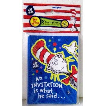 Set of 8 Cat in the Hat Party Invitations Includes 8 invitations and 8