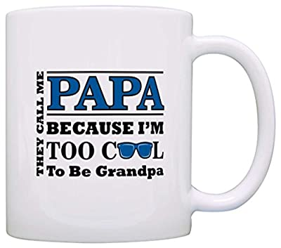 Birthday Gift for Papa Too Cool to Be Grandpa Sunglasses Gift Coffee Mug Tea Cup