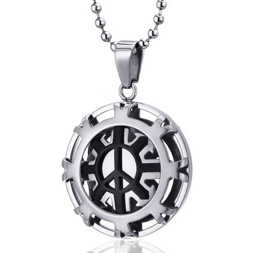 Modern Art Polished Stainless Steel Peace Sign Circle Pendant Free Shipping